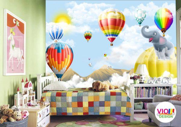 Fototapet-Copii-15-Baloane-si-Animale-250x400-cm