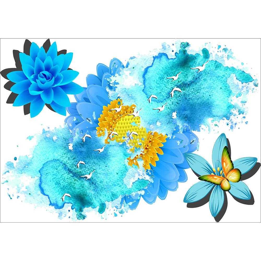 Fototapet-Abstract-Flori-Albastre