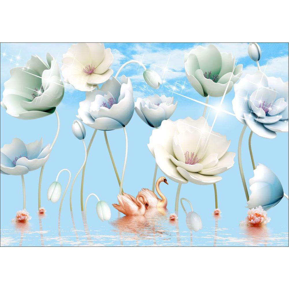 Fototapet-Abstract-Flori-In-Albastru