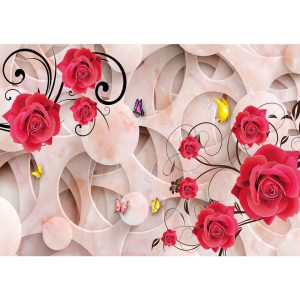 Fototapet-Abstract-Trandafiri-Fluturi