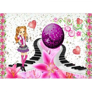 Fototapet-Copii-96-Pink-Floral-Music