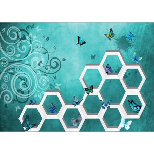 Fototapet-Abstract-3D-Fluturi-Albastri