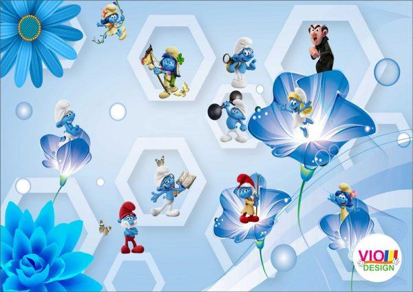 Fototapet-Copii-110-Strumfii-Albastru