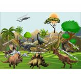 Fototapet Copii cu Dinozauri Jurassic