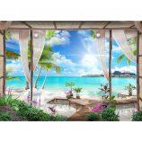 Fototapet Natura Peisaj Palmieri si Plaja